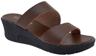 Agape Women's Sandals BROWN - Brown Double-Strap Wedge Willow Sandal - Women