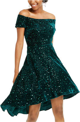 Morgan & Company Juniors' Velvet Sequined Off-The-Shoulder Dress