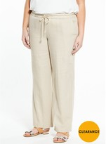 V By Very Curve Wide Leg Linen Trouser - Sand
