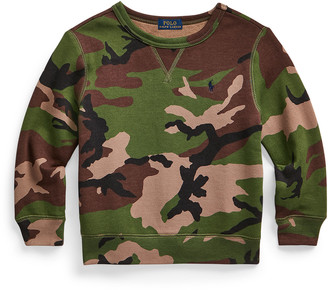 Ralph Lauren Kids Boy's Camo-Print Crewneck Knit Sweater, Size 2-4