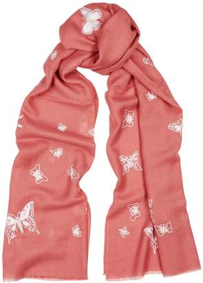Janavi Butterfly Embroidered Cashmere Scarf