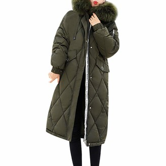 LEXUPE Women Autumn Winter Warm Comfortable Coat Casual Fashion Jacket Faux Fur Coat Hooded Thick Warm Slim Long Jacket Overcoat Army Green