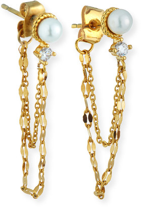 Tai Pearl-Stud Chain Earrings w/ Cubic Zirconia