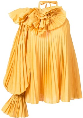 Rosie Assoulin Pleated One Shoulder Blouse