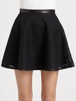 DKNY Leather-Mesh Circle Skirt