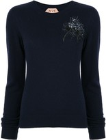 No.21 embellished anemone sweater