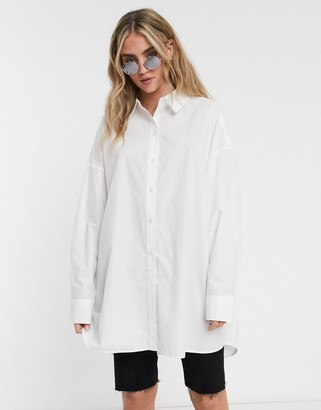 Weekday Tova organic cotton oversized shirt in white
