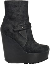 Max Studio Fauna Waxed Suede Wedge Booties
