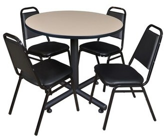 "Symple Stuff Marin 36"" Round 5 Piece Breakroom Table and Chair Set Table Finish: Beige Laminate"