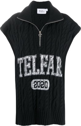 Telfar Logo-Print Cable Knit Top