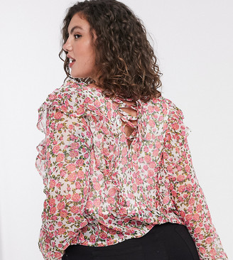 Neon Rose Plus blouse with ruffle front and tie back detail in ditsy floral