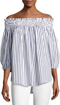 Caroline Constas Lou Off-the-Shoulder Stripe Cotton Top, Blue/White