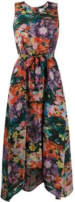 Anntian Embroidered Silk Midi Dress