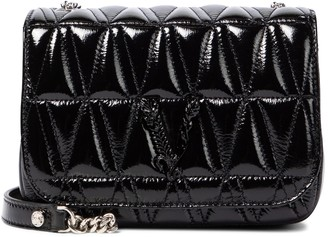 Versace Virtus patent leather shoulder bag