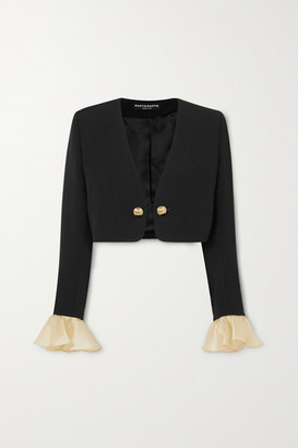 MARTIN MARTIN - Joy Cropped Ruffled Organza-trimmed Crepe Jacket - Black