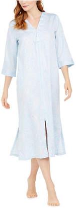 Miss Elaine Cotton Printed Sateen Long Zipper Robe