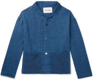 story. Mfg. Shawl-Collar Indigo-Dyed Organic Cotton Jacket