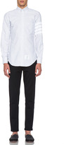 Thom Browne Classic Cotton Button Down Constructed 4 Bar Top in Grey & White Stripe