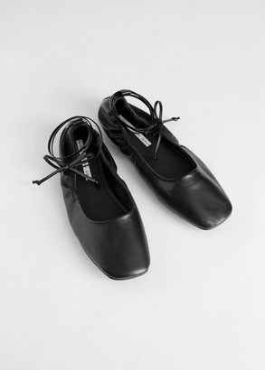 And other stories Square Toe Leather Lace Up Flats