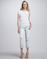 7 For All Mankind Josefina Distressed Light Cuffed Jeans