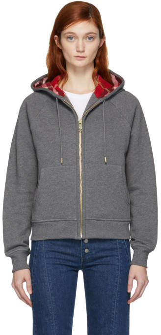 Burberry Grey Check Lining Zip Hoodie