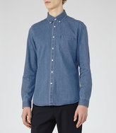 Reiss Reiss Garison - Washed Denim Shirt In Blue