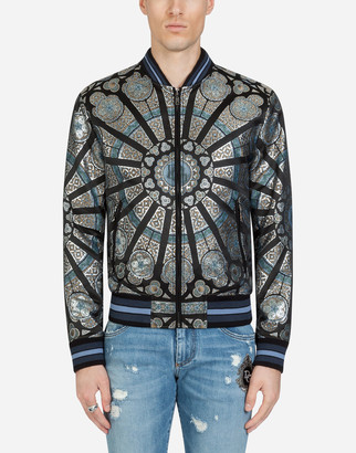 Dolce & Gabbana Lame Jacquard Jacket With Stained Glass Window Style Print