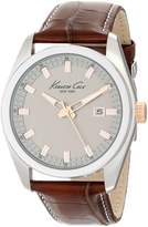 Kenneth Cole New York Men's KC8038 Classic Round Grey Dial Rose Gold Brown Strap Watch