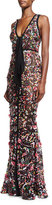 Elie Saab Sequined Sleeveless Tie-Front Gown, Multicolor