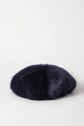 EMMA BREWIN Faux Fur Beret - Midnight blue