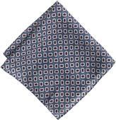 Italian Wool Pocket Square In Blue Foulard