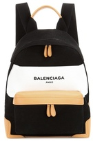 Balenciaga Navy Leather-trimmed Canvas Backpack