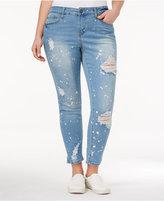 Rampage Trendy Plus Size Ripped Bushwick Wash Skinny Jeans