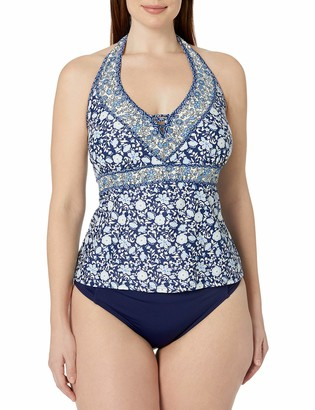 Jessica Simpson Women's Plus-Size Patched Up Ditsy Floral Cross Back Halter Tankini