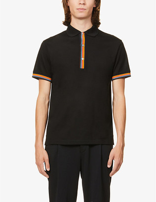 Paul Smith Rainbow stripe cotton-poplin polo shirt