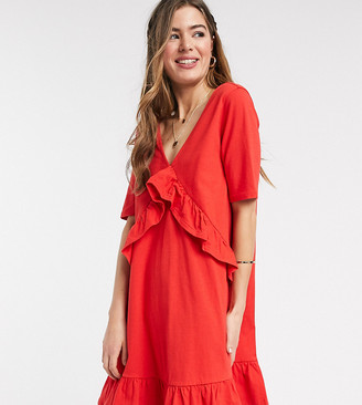 Asos Tall ASOS DESIGN Tall Exclusive v front frill seam smock dress in red