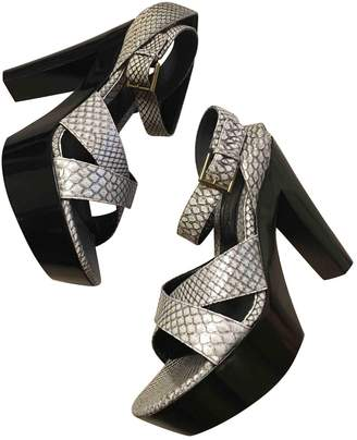 Alexander McQueen Grey Leather Sandals