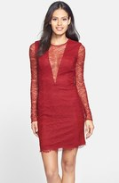Cynthia Rowley 771075 Illusion Plunging Lace Sheath Short Dress