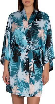 Midnight Bakery Izzy Tropical Print Wrap Short Robe