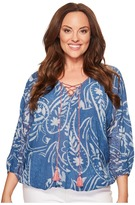 Lucky Brand Plus Size Exploded Floral Peasant Top Women's Long Sleeve Pullover