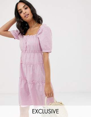 Vila square neck check smock mini dress-Pink
