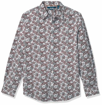 Perry Ellis Men's Floral Paisley Print Stretch Long Sleeve Button Down Shirt
