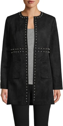 Karl Lagerfeld Paris Faux Pearl-Embellished Faux Suede Topper