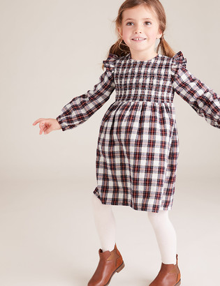 Marks and Spencer 2 Piece Cotton Checked Dress Outfit (2-7 Yrs)