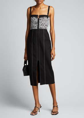 Dion Lee Lace-Trim Denim Bustier Dress