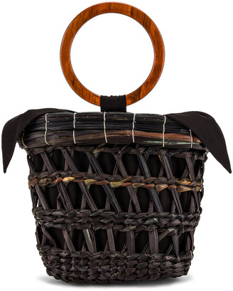 Sensi Totora Straw Basket With Polished Bamboo Handle Bag in Unique | FWRD