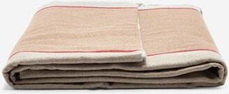 Brunello Cucinelli Fringed Striped Cashmere Blanket - Grey