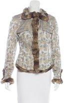 Blumarine Fur-Trimmed Jacquard Jacket