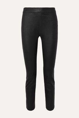Diane von Furstenberg Claudia Leather Slim-leg Pants - Black