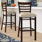 "Regal Beechwood Ladder Back Fully Upholstered Seat Bar & Counter Stool Seat Height: Bar Stool (31"" Seat Height)"